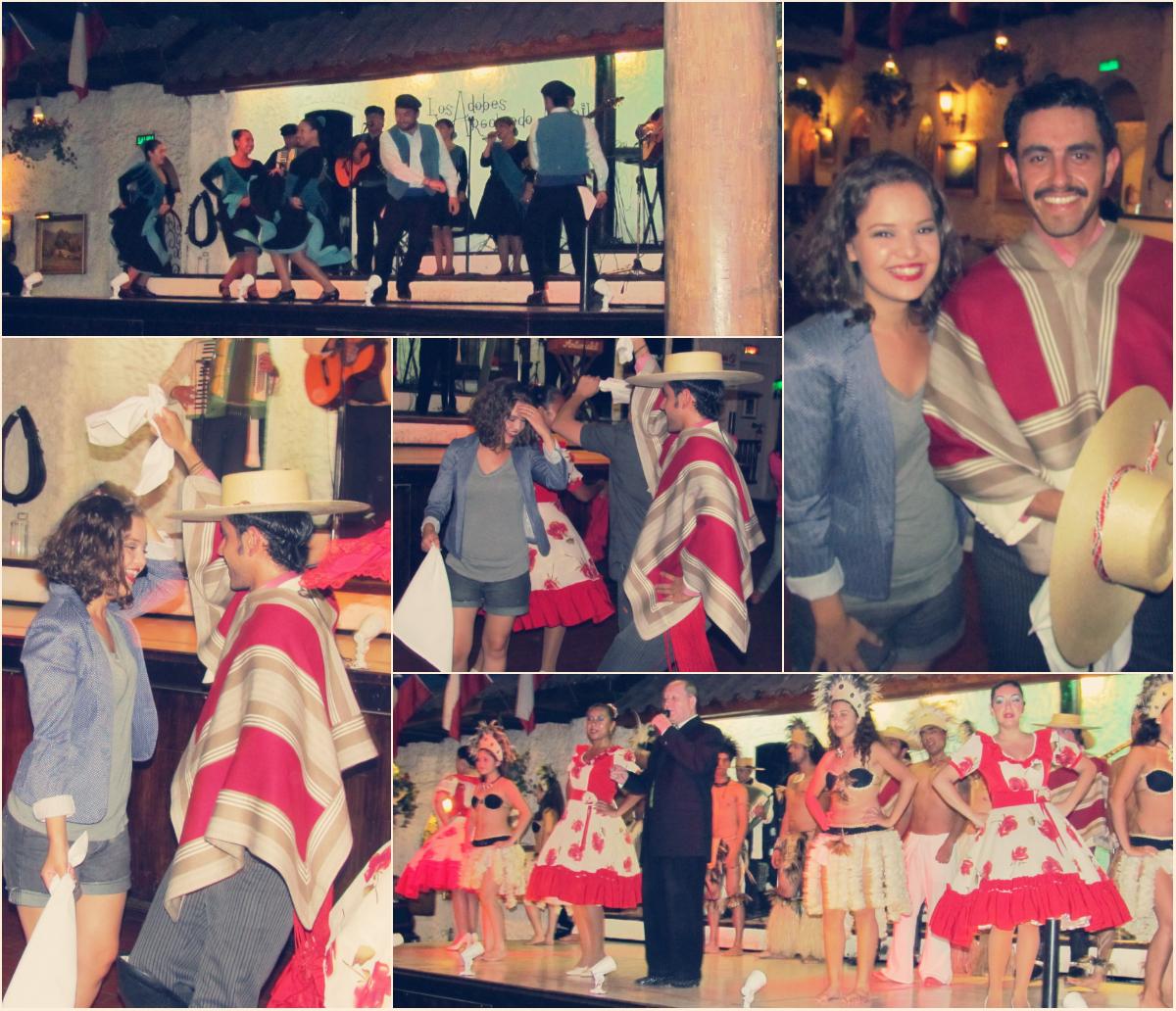 Fê Marley tentando dançar as músicas típicas do Chile - Restaurante Los Adobes de Argomedo.